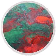 Abstract Evergreen Round Beach Towel