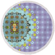 Round Beach Towel featuring the digital art Abstract Floral by Susan Leggett