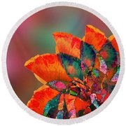 Abstract Flower Round Beach Towel by Klara Acel