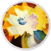 Abstract Flowers 2 Round Beach Towel by Marilyn Jacobson