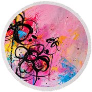 Abstract Flowers In Hot Pink 1 Round Beach Towel