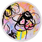 Abstract Flowers In Pink 3 Round Beach Towel