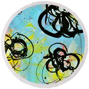 Abstract Flowers Silhouette 4 Round Beach Towel