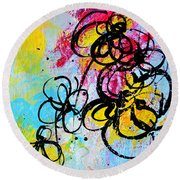 Abstract Flowers Silhouette 5 Round Beach Towel