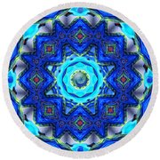 Round Beach Towel featuring the photograph Abstract Glass Mandala by Deborah Smith