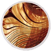 Abstract Gold 2 Round Beach Towel
