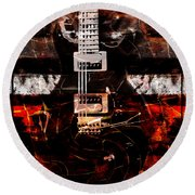 Abstract Guitar Into Metal Round Beach Towel