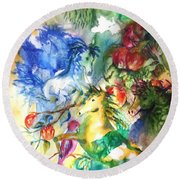 Abstract Horses Round Beach Towel