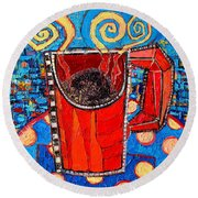Abstract Hot Coffee In Red Mug Round Beach Towel