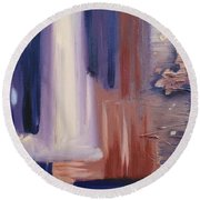 Round Beach Towel featuring the painting Abstract I by Donna Tuten