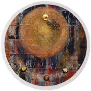 Abstract In Black And Copper Round Beach Towel by Desiree Paquette