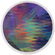 Abstract In Blue And Purple Round Beach Towel by Jane McIlroy