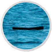 Abstract In Blue Round Beach Towel by E Faithe Lester