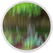 Abstract In Green Round Beach Towel