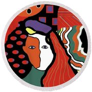 Abstract Lady Round Beach Towel