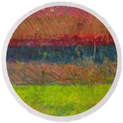 Abstract Landscape Series - Lake And Hills Round Beach Towel