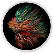 Abstract Lion's Head Round Beach Towel by Klara Acel