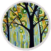 Abstract Modern Tree Landscape Spring Rain By Amy Giacomelli Round Beach Towel