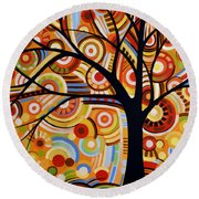Abstract Modern Tree Landscape Thoughts Of Autumn By Amy Giacomelli Round Beach Towel
