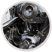 Abstract Motorcycle Engine Round Beach Towel