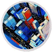 Abstract New York Sky View Round Beach Towel by Mona Edulesco