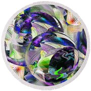 Purple Balls - 027 Round Beach Towel by rd Erickson