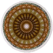 Mandala 2 - 075 Round Beach Towel by rd Erickson