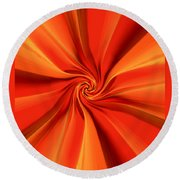 Abstract Orange Round Beach Towel by Jennifer Muller