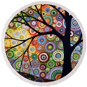 Abstract Original Modern Tree Landscape Visons Of Night By Amy Giacomelli Round Beach Towel