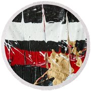 Abstract Original Painting Number Five Round Beach Towel