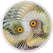 Abstract Owl Round Beach Towel by Klara Acel