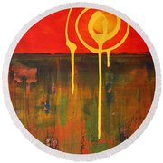 Abstract Painting Ground Squall Round Beach Towel
