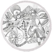 Abstract Pen Drawing Thirty-eight Round Beach Towel
