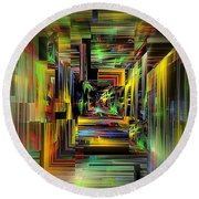 Abstract Perspective E3 Round Beach Towel