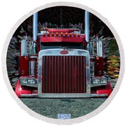 Abstract Peterbilt Round Beach Towel