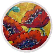 Abstract Poppies By Prankearts Round Beach Towel