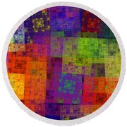 Abstract - Rainbow Bliss - Fractal - Square Round Beach Towel by Andee Design