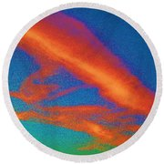 Abstract Red Blue And Green Sky Round Beach Towel