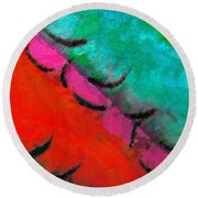 Round Beach Towel featuring the painting Abstract Red Blue by Joan Reese
