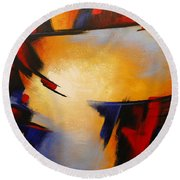Abstract Red Blue Yellow Round Beach Towel
