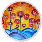 Abstract Red Symphony Round Beach Towel