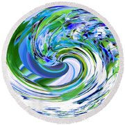 Abstract Reflections Digital Art #3 Round Beach Towel