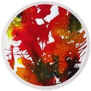 Abstract - Riot Of Fall Color II - Autumn Round Beach Towel by Ellen Levinson