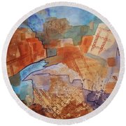 Abstract Ruins Round Beach Towel