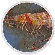 Abstract Shrimp Round Beach Towel