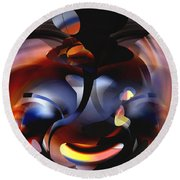 Abstract Speaker Of Internal Fire Round Beach Towel by rd Erickson