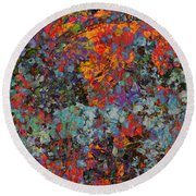 Round Beach Towel featuring the mixed media Abstract Spring by Ally  White