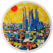 Abstract Sunset Over Sagrada Familia In Barcelona Round Beach Towel