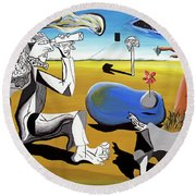 Round Beach Towel featuring the painting Abstract Surrealism by Ryan Demaree