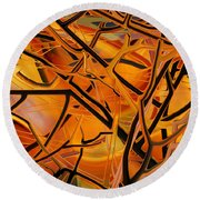 Abstract - Tangled Brush Round Beach Towel by rd Erickson
